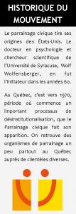 Image contenant un texte supplémentaire résumant l'historique du mouvement Parrainage civique.