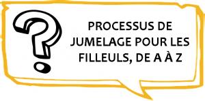 Filleul - Dessin d'un point d'interrogation avec l'inscription Processus de jumelage pour les Filleuls, de A à Z